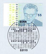 BRD 2010: Konrad Zuse Nr. 2802 mit sauberem Bonner Ersttags-Sonderstempel! 1A