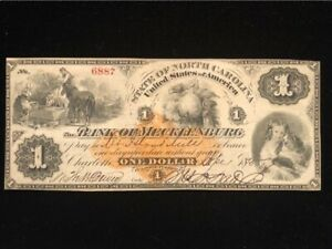 U.S: USED $1.00 SCRIP #RND1 1875 TAXED AS DRAFT, BANK OF MECKLENBURG NC