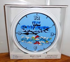 "THE SMURFS WALL CLOCK # 1. 9"" DIA. TV CARTOONS.....FREE SHIPPING"