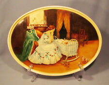 "Hand Painted Signed Bavaria Mother with Baby in Cradle Porcelain 12"" Tray"