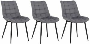 #R37951/1803 3x Stuhl Patna Samt grau Küchenstuhl Lehnstuhl Esszimmerstuhl