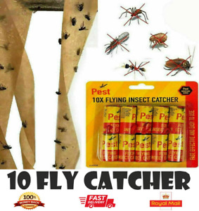 10 Fly-Insect Catcher Paper Sticky Glue Bug Trap Killer Strong Roll Tape Strip-