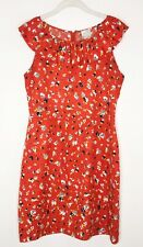 Anthropologie Hi There By Karen Walker Red Floral Ruffle Shirt Dress Sz 8 C1
