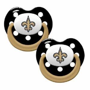 New Orleans Saints Baby Pacifier Set of 2, NFL Licensed BPA Free