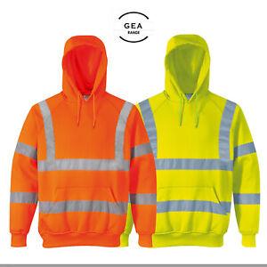 High Vis Viz Sweatshirt Pullover Hooded Safety Workwear Reflective Tape HV101