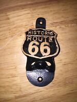 Route 66 Solid Metal Bottle Opener Man Cave Collector Patina Cola Beer Soda USA