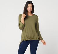 Belle by Kim Gravel Lovabelle Lounge Hi-Low Cinched Hem Top Army Green Size 1X