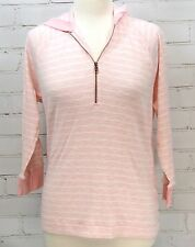 Ralph Lauren Pink Stripe Sweater Knit 1/4 Zip Cotton Knit Hoodie Hooded Size XL