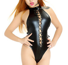 Women Vinyl Leather Wetlook CATSUIT Clubwear Bodysuit Jumpsuit Costume Lingerie