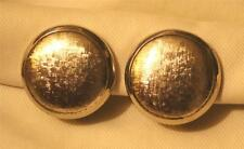Handsome Shiny Raised Rim Textured Button SILVERTONE CLIP Earrings