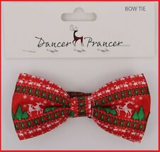 RED Satin Look CHRISTMAS Clip on BOW TIE with Reindeers Trees Elks Work Gift
