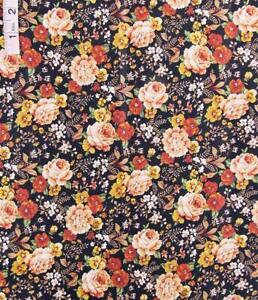 Peachy Pink,Gold Floral Print,Black Cotton Fabric,Crafts,4 Concord by Kesslers