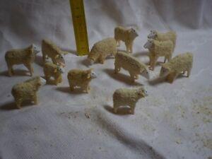 Krippenfiguren, 12 St. Krippen Schafe Set, 2,5 & 3,5 cm naturbelassenes Holz