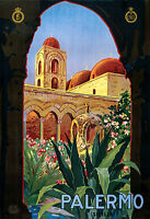 Palermo Italy, Old Vintage Travel Ad, Antique Poster, HD Art Print or Canvas