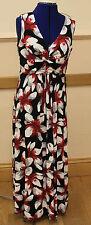 New Size 16 Black Cream Red flowered full length sleeveless V neck dress