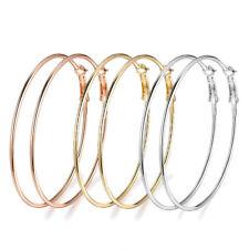 3pair/set Women's Fashion Big Circle Hoop Earrings Smooth Gold Silver Rose Gold