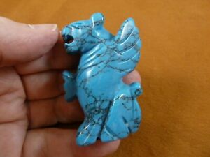 (Y-LIO-GA-701) blue Howlite LION GARGOYLE gemstone statue carving mythical gem