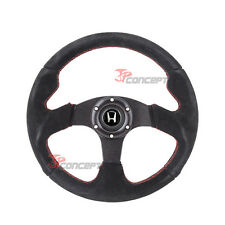 320mm JDM Steering Wheel Black Suede Red Stitch Horn Button w/Silver H Emblem