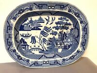 Very Large Staffordshire Blue Willow Meat Platter Circa 1830
