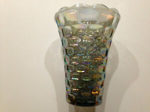 1950's Blue Iridescent Carnival Glass Federal Glass Co Yorktown Pattern Vase