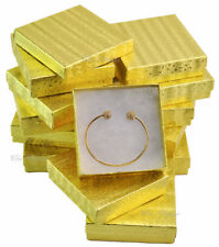 """LOT OF 12 GOLD COTTON FILLED BOXES JEWELRY GIFT BOXES BRACELET BOX 3.5""""x3.5"""""""