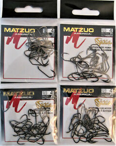100 (4x25) Matzuo 140012 Black Baitholder Sickle Down Eye Fish Hooks Sz. 4