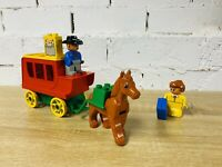 Duplo Lego Vintage Red Stagecoach Cowboy Mail Wild West 2433 Horse & Carriage