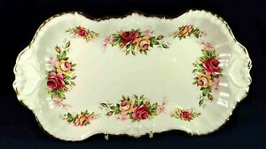 JAMES KENT OLD FOLEY PINK & YELLOW ROSES SANDWICH DISH