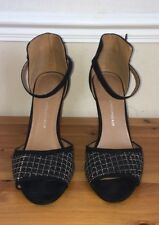 HIGH HEEL SANDAL SHOES SIZE 5 PARTY EVENING BLACK  SUEDE