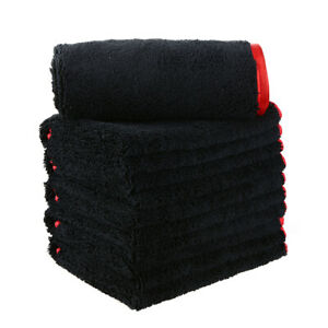 "6pcs Elite Microfiber Towel Soft Plush Cleaning Rag 16""x16"" Black/red Trim"