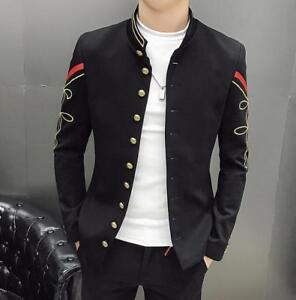 New Men's Embroidered Coat Suit Stage Show Costume Stand Collar Slim Fit Jacket