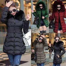 UK Women Winter Warm Hoody Long Jacket Parka Padded Fur Down Trench Coat Outwear