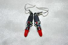 Lipstick Drop Earrings Green Red Austrian Crystals Makeup Mary Kay Cosmetics