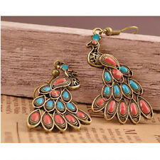 Lady's Vintage Bronze New Peacock resin Dangle Stud Hook Earrings
