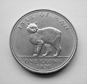1970 MANX CAT ISLE OF MAN CROWN - IoM MANX COIN LAST FIVE SHILLING COIN