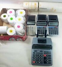 Lot of 4 Printing Calculators – 2 Canon – 2 Casio and Print Paper Rolls