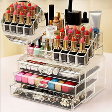 COSMETIC ORGANIZER ACRYLIC MAKEUP DRAWER HOLDER JEWELLERY CASE BOX STORAGE CLEAR
