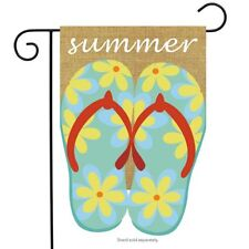 "Summer Flip Flops Burlap Garden Flag Nautical 12.5"" x 18"" Briarwood Lane"