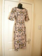 14 60'S 70'S MIDI PENCIL DRESS FLORAL NUDE / BLUE STRETCH COMFORT SUMMER WEDDING