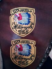 (2) PONTIAC 1956 MOTORCYCLE CLUB Biker IRON ON PATCHES  Patch LOT INDIAN CHIEF