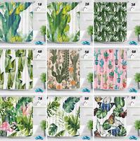 72x72'' Tropical Leaves Shower Curtain Bathroom Waterproof Fabric Bath 12 Hooks