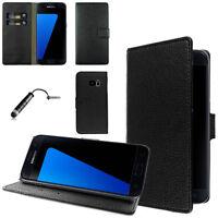Samsung Galaxy S7 Custodia Cover Portafoglio Eco Pelle NERO +Pellicola
