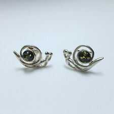 NATURAL BALTIC AMBER 925 STERLING SILVER STUD EARRINGS SNAIL SHAPE