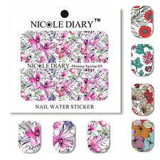 5 Sheets Shining Spring Water Decal Flower Manicure Nail Art Transfer Stickers