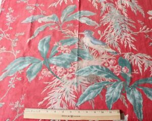 """Antique French Hand Blocked 19thC Cotton/Linen Home Tropical Bird Fabric~46""""X28"""""""
