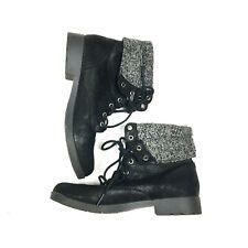 Arizona Womens Boots Black Faux Fur Gray Sz 8 Lace Up