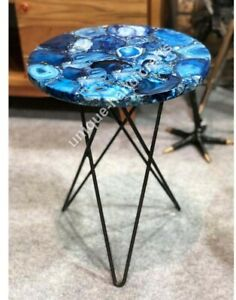 Natural Blue Agate stone Coffee/Dinning/Center Table Top, Agate Console Table