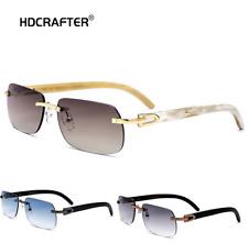 Luxury Natural Buffalo Horn Men Women Rimless Sunglasses Square Outdoor Glasses