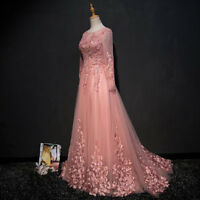 Long Sleeve Lace Evening Dresses Elegant Women Prom Formal Party Wedding Gowns