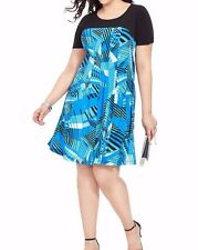 Signature By Robbie Bee Matte Jersey A Line Mixed Geo Print Dress Size 1X